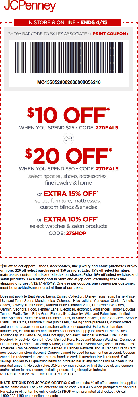 JCPenney Coupon October 2018 10 Off 25 At Or Online Via Promo Code 27DEALS