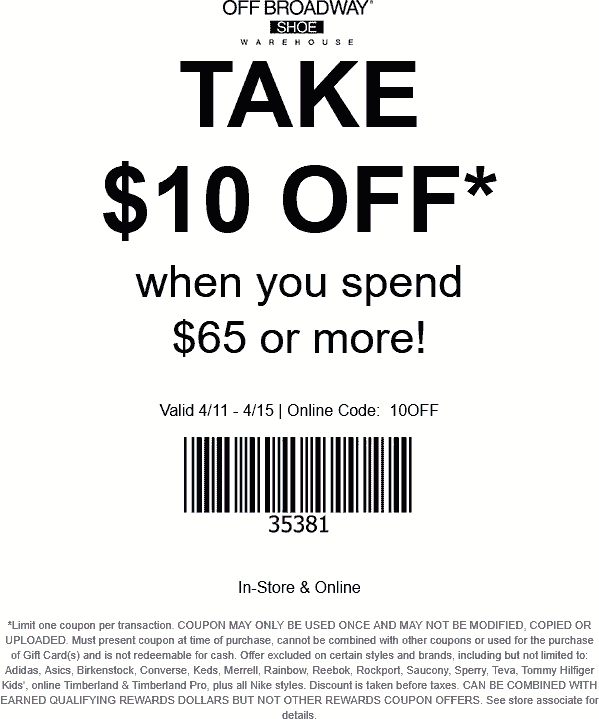 Off Broadway Shoe Coupon May 2019 $10 off $65 + 50% off second pair at Off Broadway Shoes, or online via promo code 10OFF