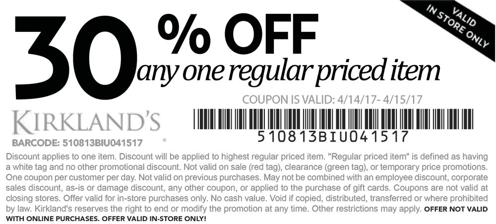 Www kirklands com coupons