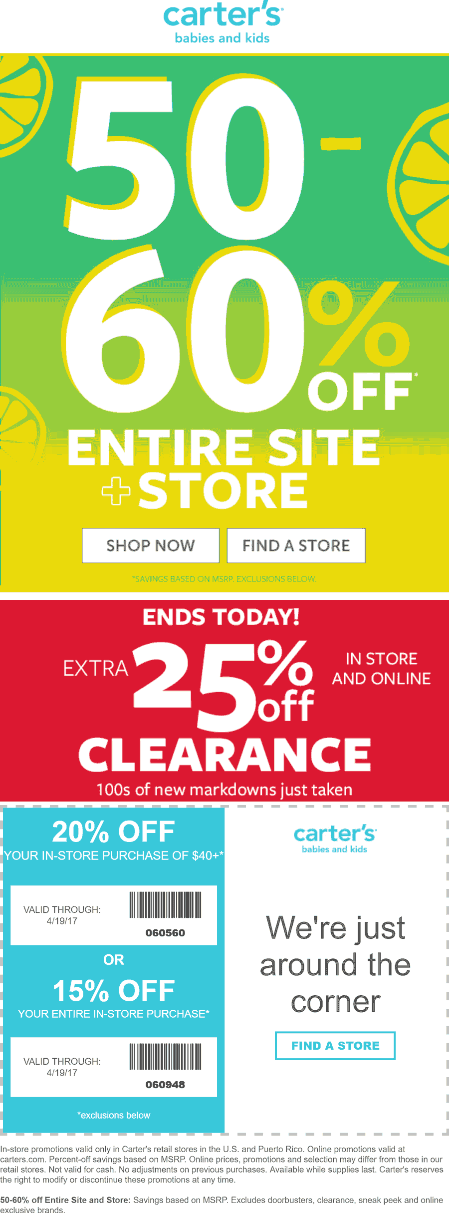 Carters Coupon October 2018 50-60% off everything & more at Carters, ditto online