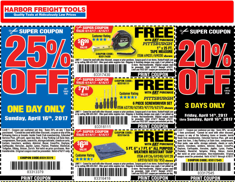 Harbor Freight coupons - 25% off a single item & more - photo #44