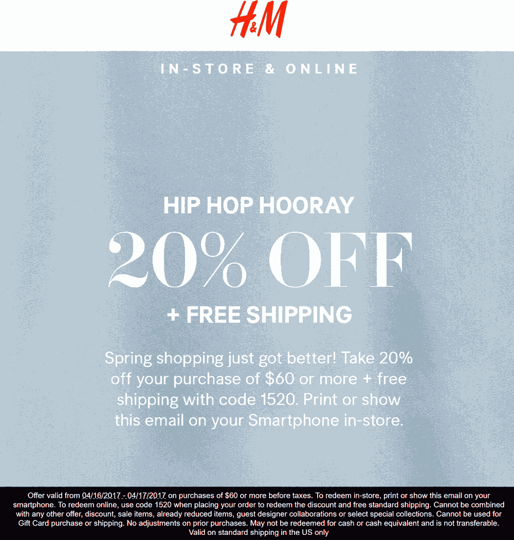 The team at erawtoir.ga is proud to present you with a wide selection of H&M promo codes. If you are looking to save on the latest fashions by the Swedish retail giant, you can use one of the promo codes that you see here completely free of charge.