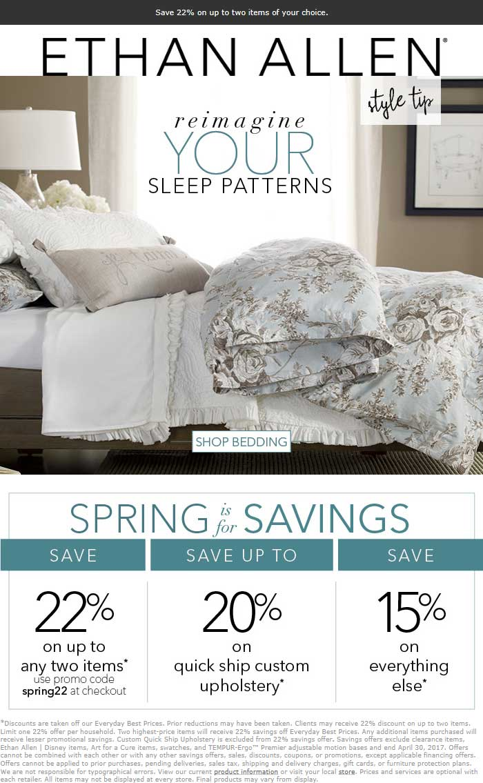 Ethan Allen Coupon March 2019 22% off at Ethan Allen, or online via promo code spring22