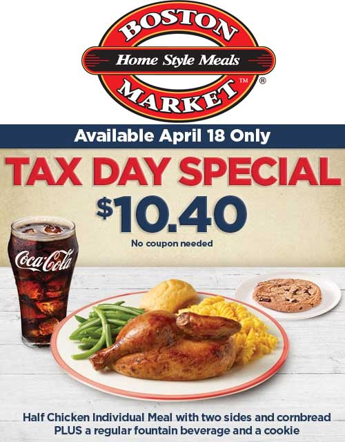 Boston Market Coupon March 2019 Half chicken + 2 sides + drink + cookie = $10.40 today at Boston Market