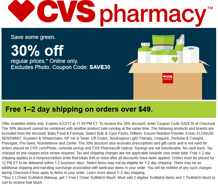 CVS Pharmacy Coupon May 2017 30% off online at CVS Pharmacy via promo code SAVE30