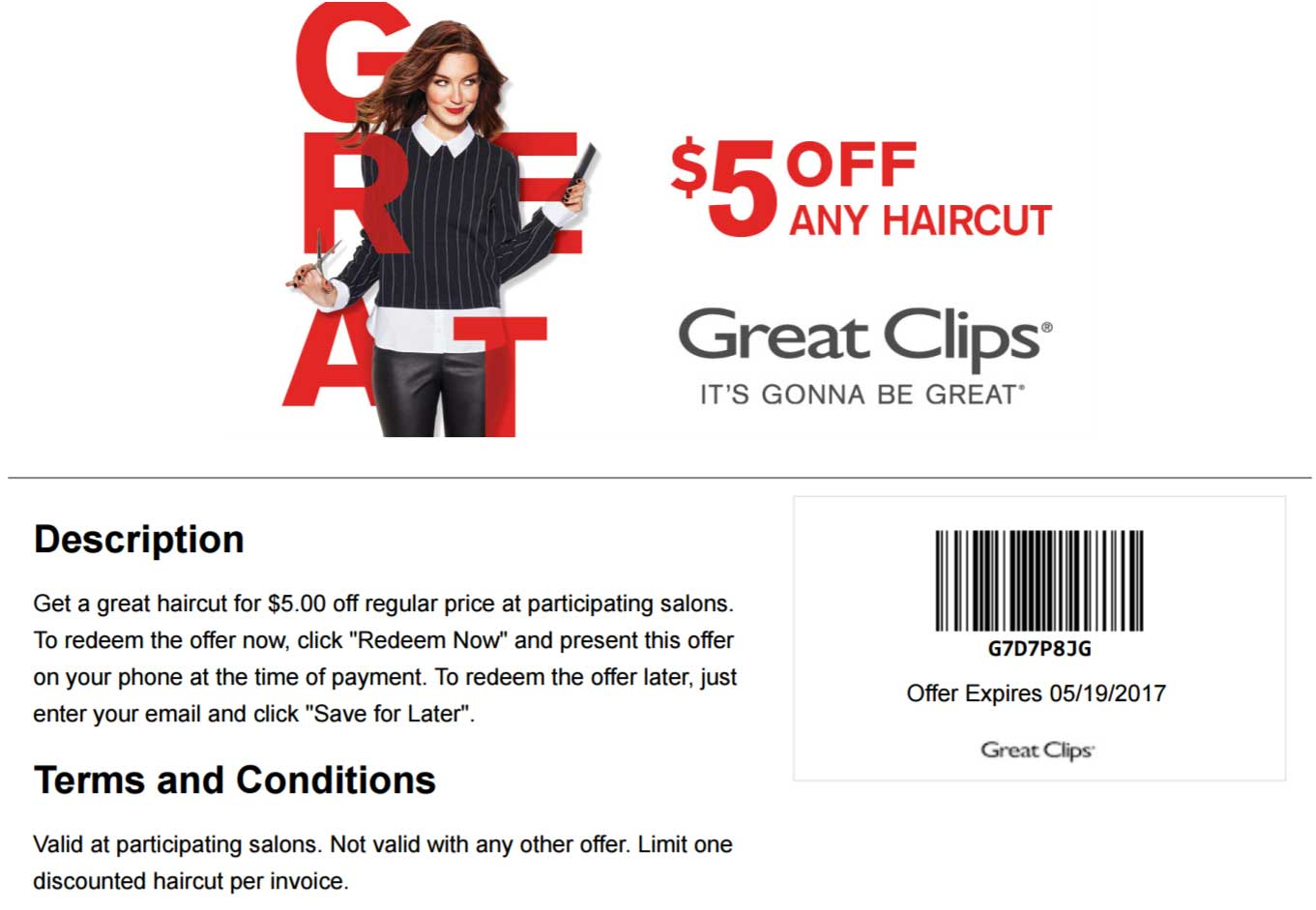 Great Clips Coupon May 2017 $5 off a haircut at Great Clips