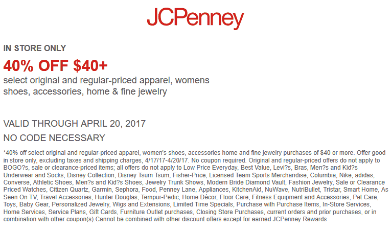 JCPenney Coupon April 2017 40% off $40 at JCPenney, or 50% off $50 online via promo code 37SAVE