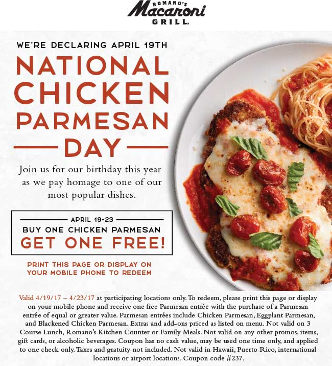 Macaroni Grill Coupon April 2018 Second chicken parmesan free at Macaroni Grill restaurants