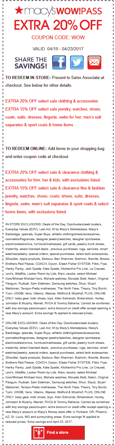 Macys Coupon February 2018 Extra 20% off at Macys, or online via promo code WOW