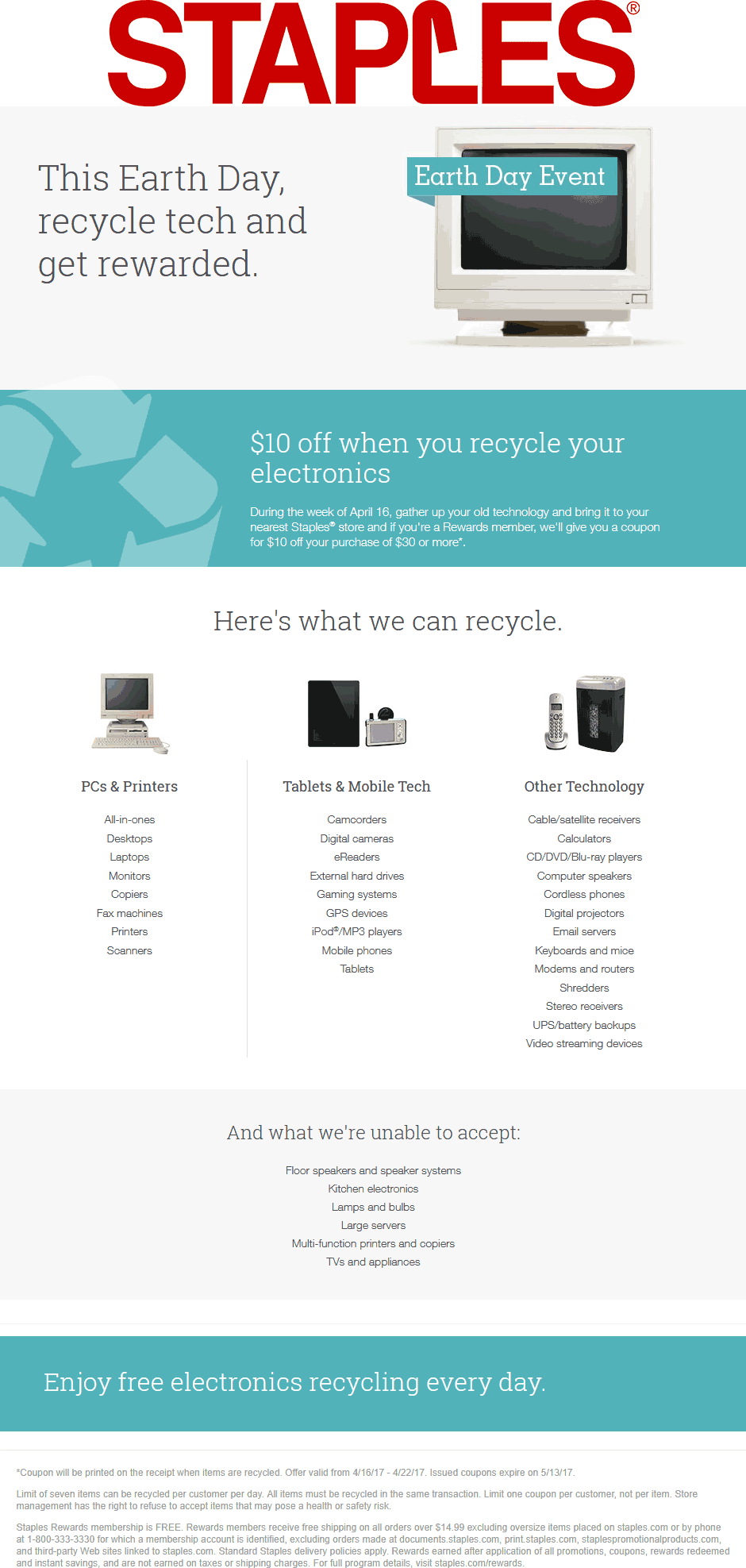 Staples Coupon May 2018 Bring in old electronics to recycle for a $10 off $30 coupon at Staples