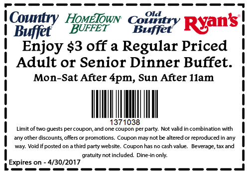 Old Country Buffet Coupon August 2018 $3 off your bottomless buffet at Ryans, HomeTown Buffet & Old Country Buffet
