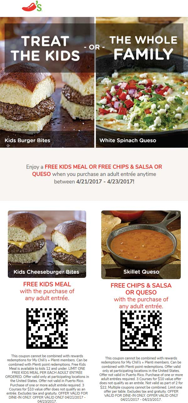 Chilis Coupon October 2018 Free kids meal or chips & queso with your entree at Chilis
