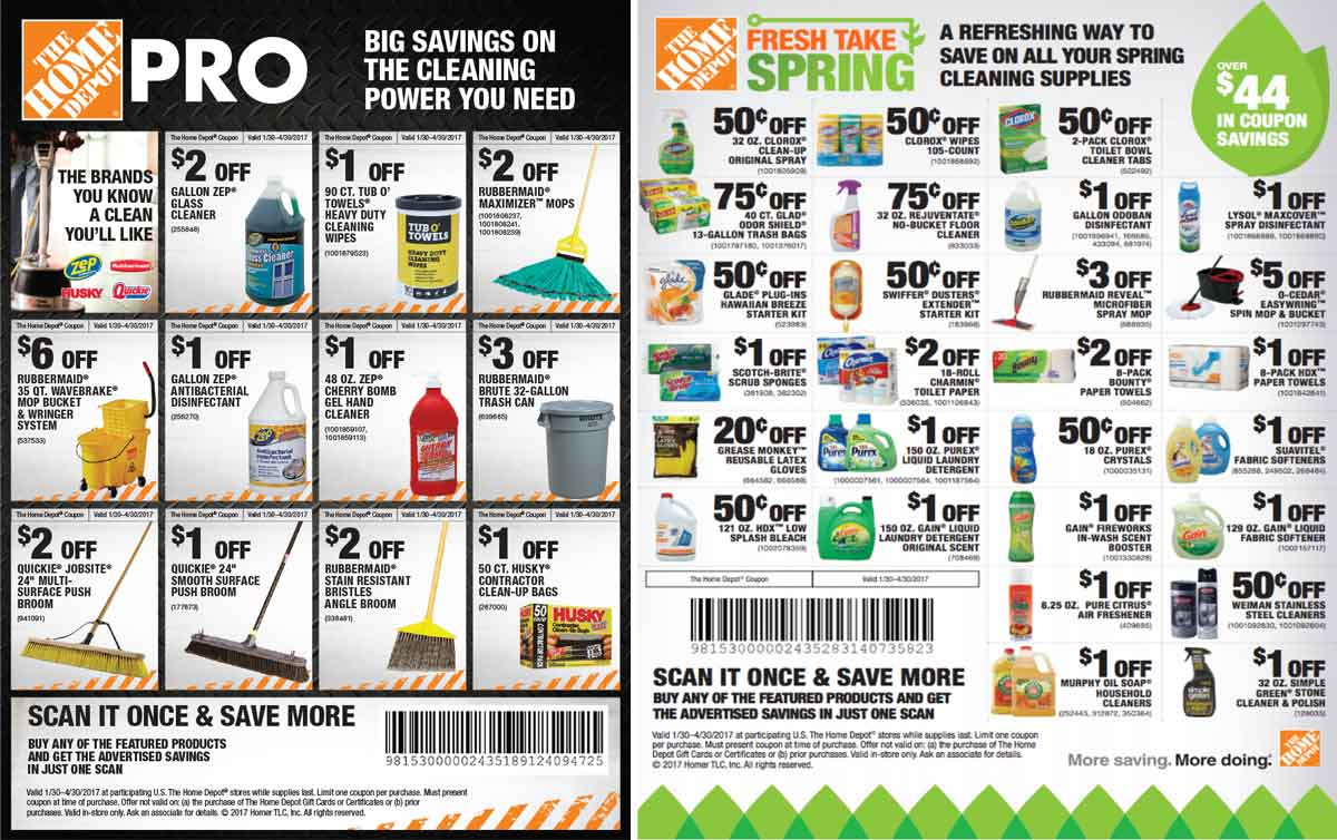 HomeDepot.com Promo Coupon Various cleaning supply coupons at Home Depot