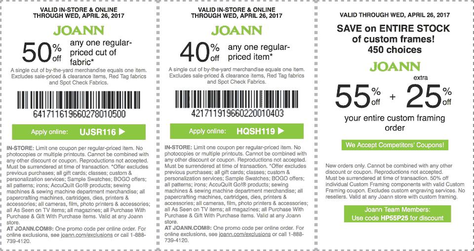 Jo-AnnFabric.com Promo Coupon 40% off a single item & more at Jo-Ann Fabric, or online via promo code HQSH119