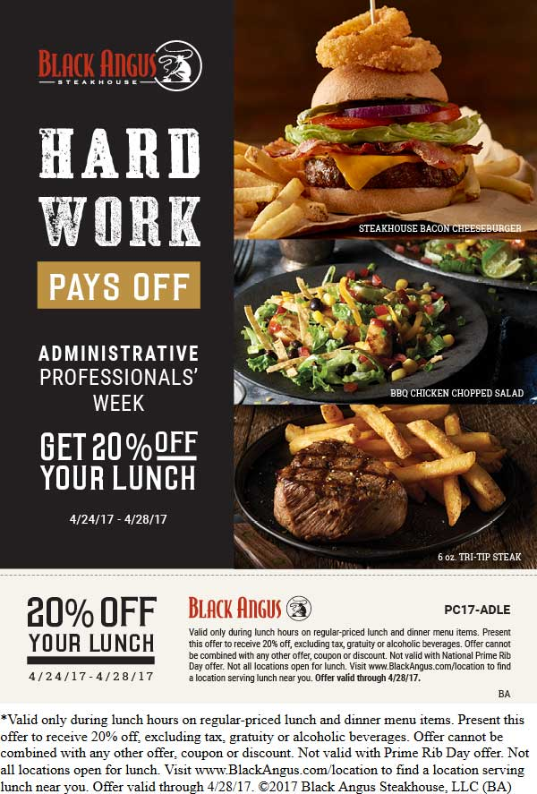 Black Angus Coupon December 2018 20% off lunch at Black Angus