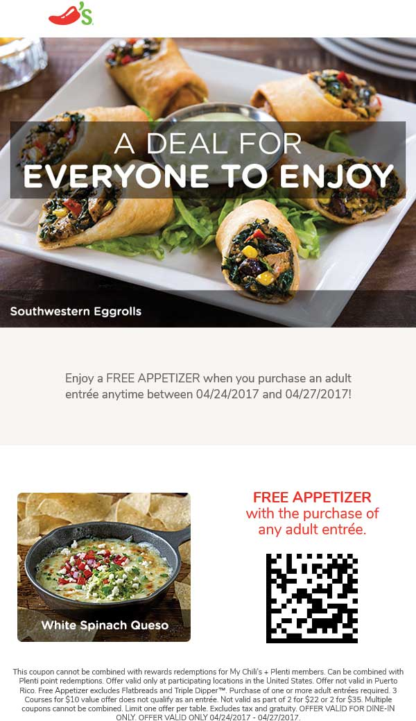 Chilis Coupon August 2018 Free appetizer with your entree at Chilis
