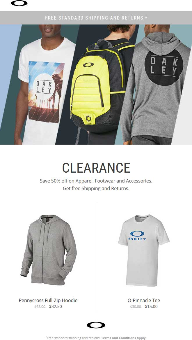 Oakley Coupon November 2018 50% off apparel & accessories at Oakley, ditto online