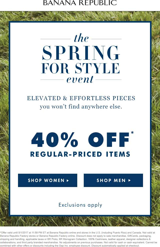 Banana Republic Coupon March 2019 40% off at Banana Republic, ditto online