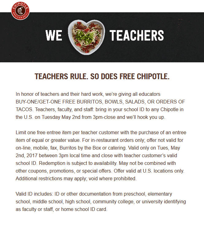 Chipotle Coupon December 2018 Teachers enjoy a second burrito or bowl free Tuesday at Chipotle