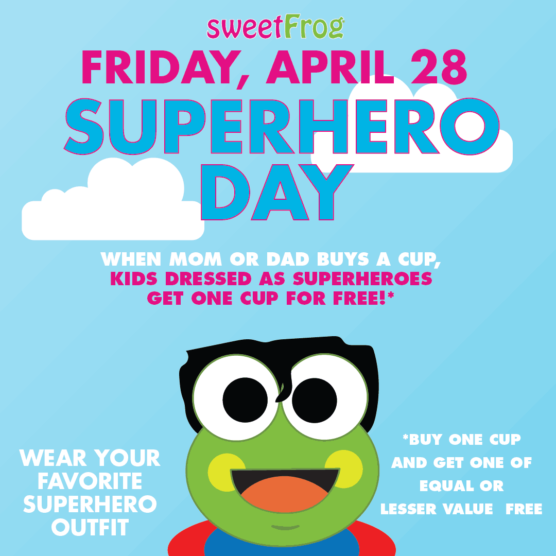 sweetFrog Coupon October 2018 Superhero kids score a free froyo with yours today at Sweet Frog