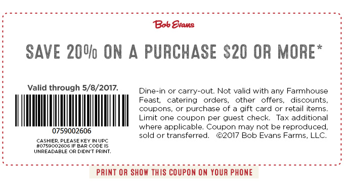 Bob Evans Coupon September 2019 20% off $20 at Bob Evans restaurants