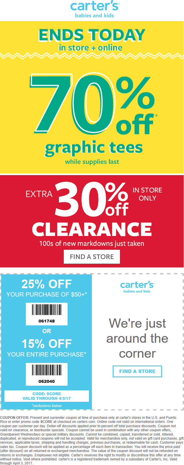 Carters Coupon December 2018 15-25% off at Carters, or online via promo code SCORE