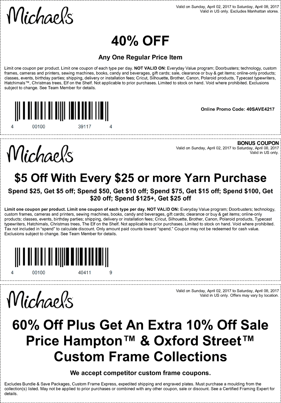 Michaels 40 off coupon october 2018
