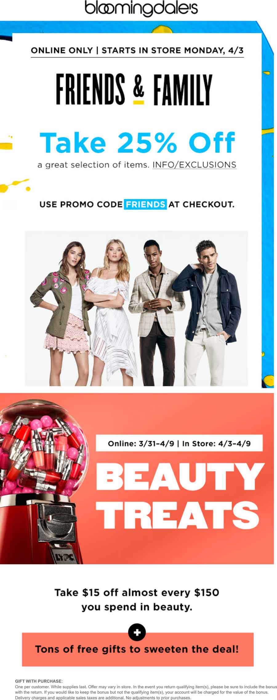 Bloomingdales Coupon March 2019 25% off at Bloomingdales, or online via promo code FRIENDS