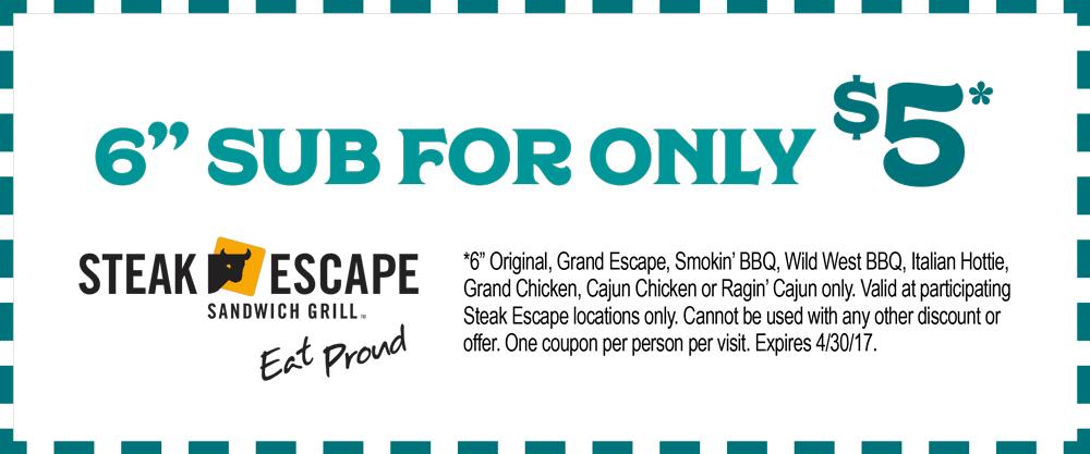 Steak Escape Coupon October 2018 $5 sub at Steak Escape restaurants