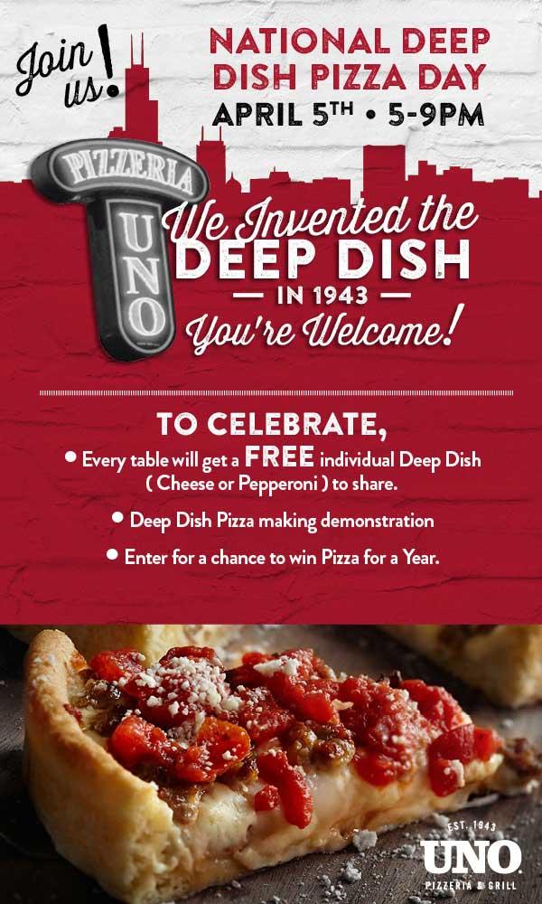 UnoPizzeria.com Promo Coupon Free individual deep dish 5-9p Wednesday at Uno Pizzeria