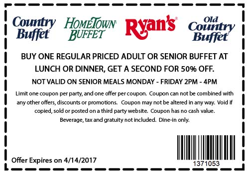 HometownBuffet.com Promo Coupon Second meal 50% off at Ryans, Old Country Buffet & Hometown Buffet