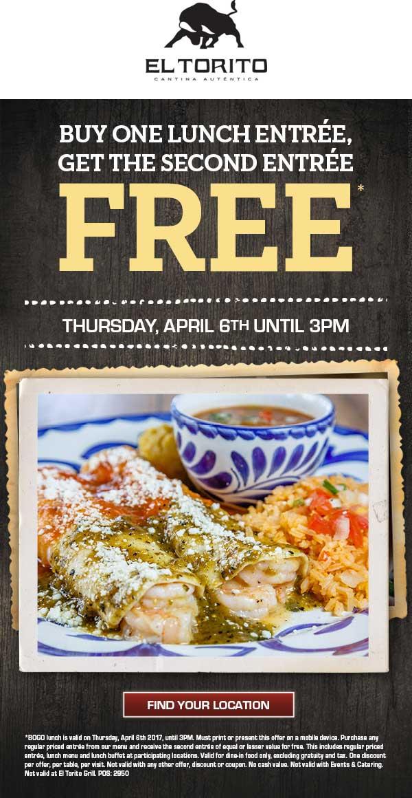 El Torito Coupon March 2019 Second lunch free today at El Torito
