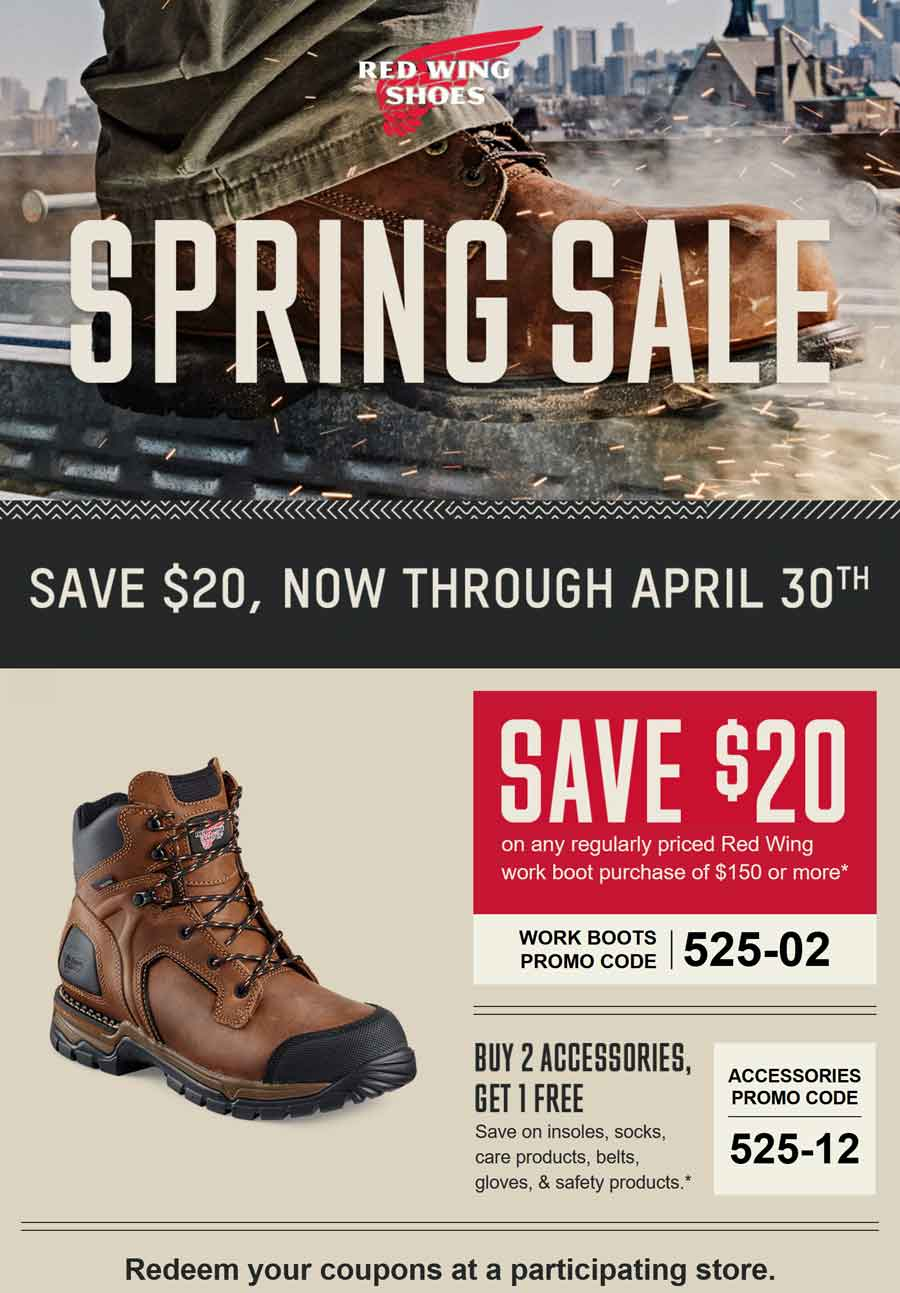 Red Wing Shoes Coupons - $20 off work boots at Red Wing Shoes