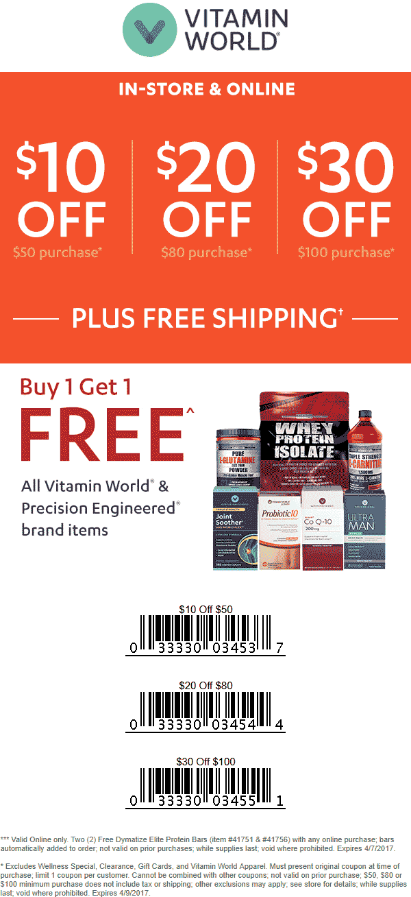 Vitamin World Coupon August 2018 $10 off $50 & more today at Vitamin World, ditto online