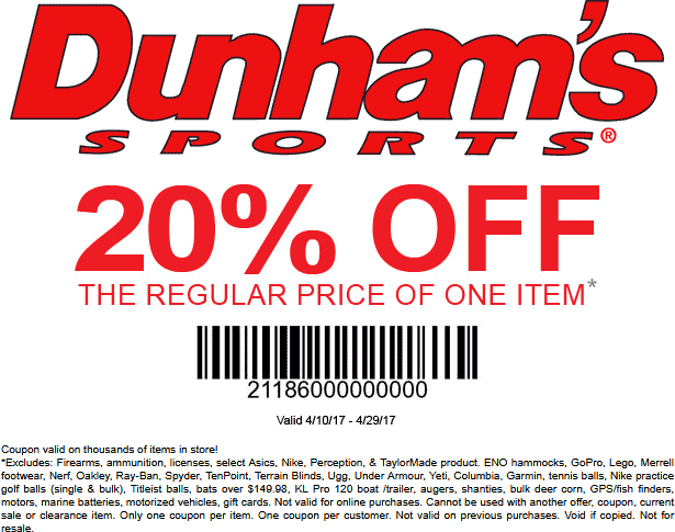 Dunhams Sports Coupon October 2018 20% off a single item at Dunhams Sports