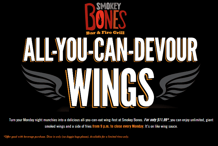 Smokey Bones Coupon October 2018 Bottomless wings for $12 today at Smokey Bones restaurants