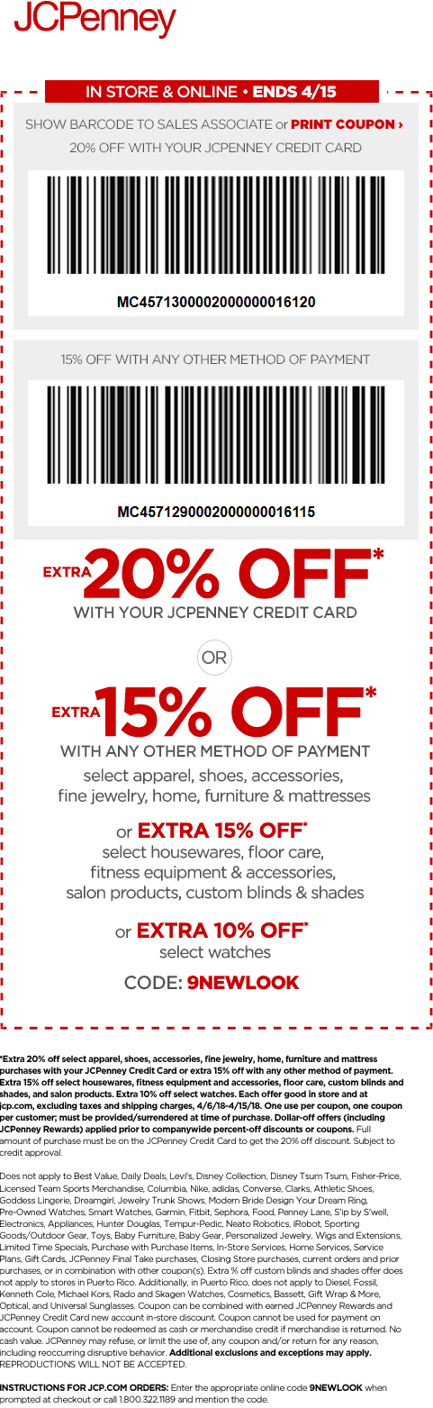 JCPenney.com Promo Coupon 15% off at JCPenney, or online via promo code 9NEWLOOK
