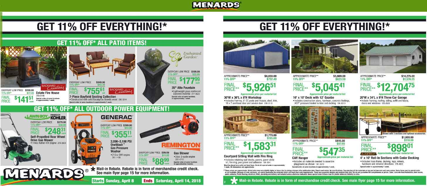 Menards Coupon August 2018 11% off everything at Menards via rebate