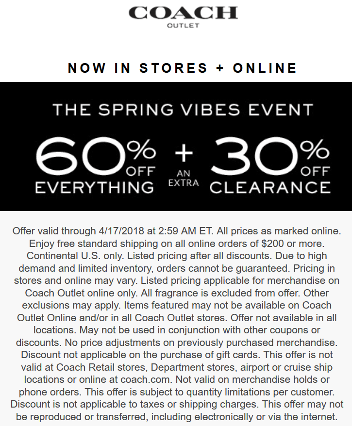 Coach Outlet Coupon December 2018 60% off everything at Coach Outlet, ditto online