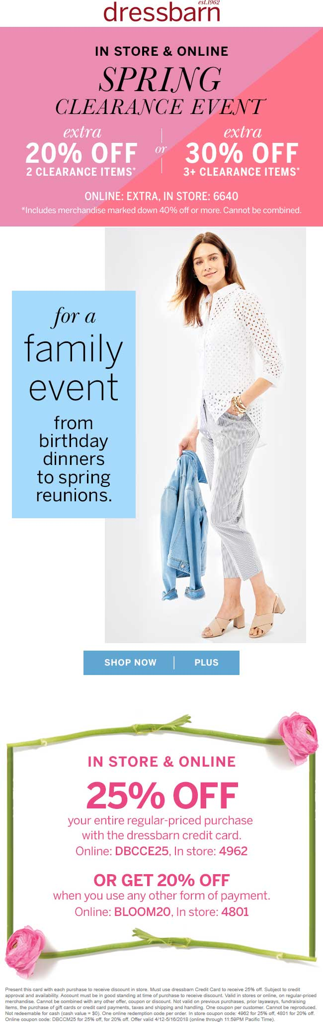 Dressbarn Coupon February 2019 20% off at Dressbarn, or online via promo code BLOOM20
