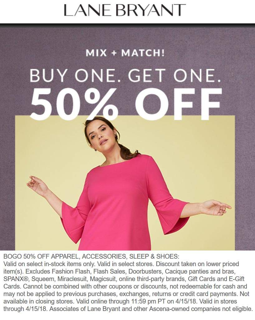 Lane Bryant Coupon March 2019 Second item 50% off at Lane Bryant, ditto online