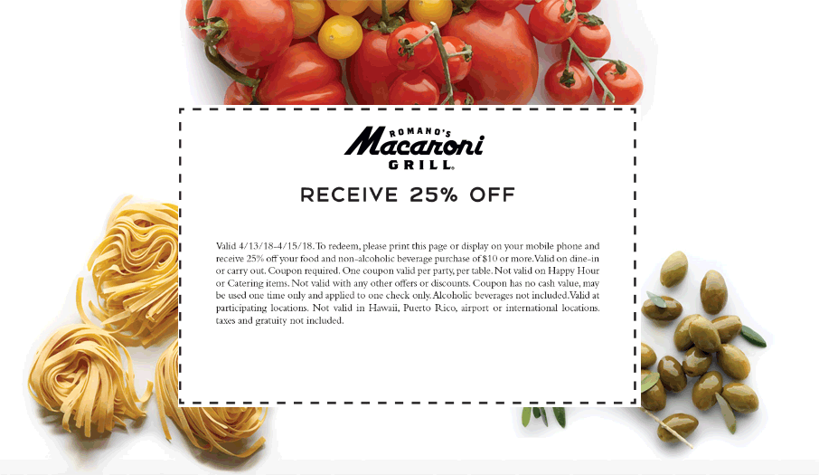 Macaroni Grill Coupon February 2019 25% off at Macaroni Grill restaurants
