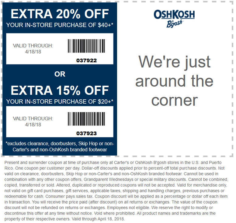 OshKosh Bgosh Coupon March 2019 15-20% off $20+ at OshKosh Bgosh