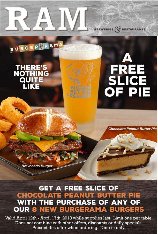RAM Coupon December 2018 Free pie with your burger at RAM restaurants & breweries