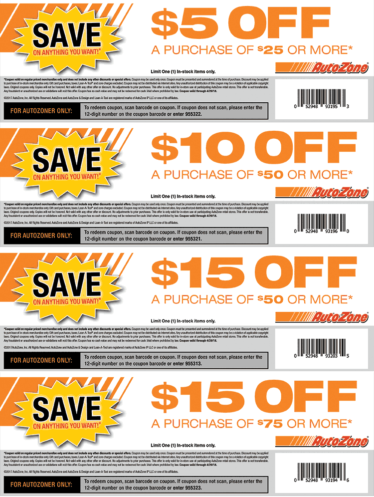 AutoZone Coupon October 2018 $5 off $25 & more at AutoZone