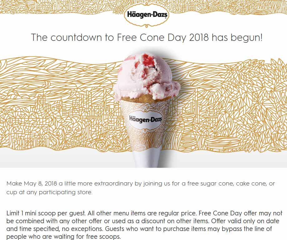 Haagen-Dazs Coupon April 2018 Free ice cream cone the 8th at Haagen-Dazs