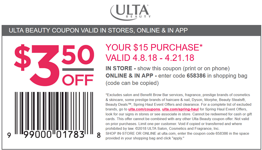 Ulta Coupon March 2019 $3.50 off $15 at Ulta Beauty, or online via promo code 658386