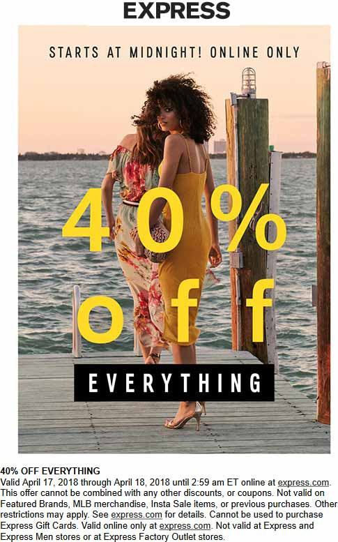 Express.com Promo Coupon 40% off everything online at Express