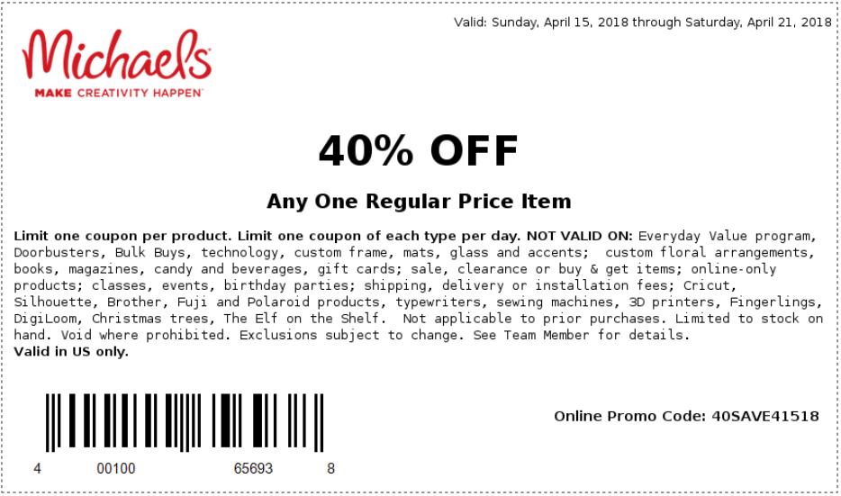 Michaels.com Promo Coupon 40% off a single item at Michaels, or online via promo code 40SAVE41518