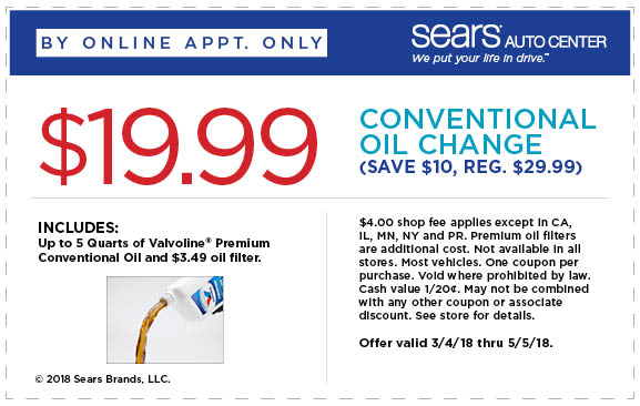 Sears Auto Coupon October 2019 $20 oil change at Sears Auto